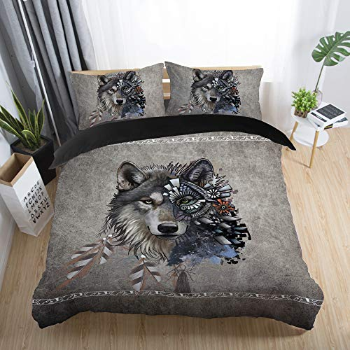 135x200cm Luxus 2 Teilig 3D Tier Wald Wolf Blaues Grau Bettwäsche Set mit Reißverschluss, Cat Mond Winter Herbst Bettbezug Set Mann 1 Person