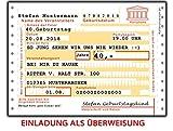 Einladungskarten zum Geburtstag als Überweisung 50 Stück + Namen & Text lustig, witzig & ausgefallen für Männer und Frauen