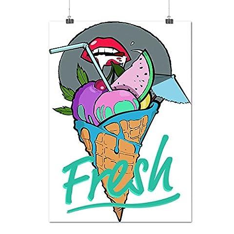 Ice Cream Fruit Lips Food Summer Taste Matte/Glossy Poster A2