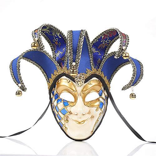 TTXLY Vintage Clown Maske Halloween Party Masken venezianischen Narren Maske Maskerade Bell Joker Vollgesichts Wand dekorative Kunstsammlung,Blue