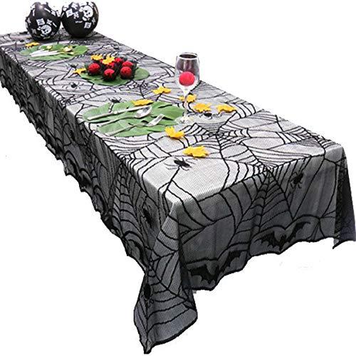 (In the Dream Horror Dekoration Halloween Spinnennetz Fledermaus Tischdecke Schwarz Tischläufer Spitze Abdeckung Party Tisch Dekor Wohnaccessoires)
