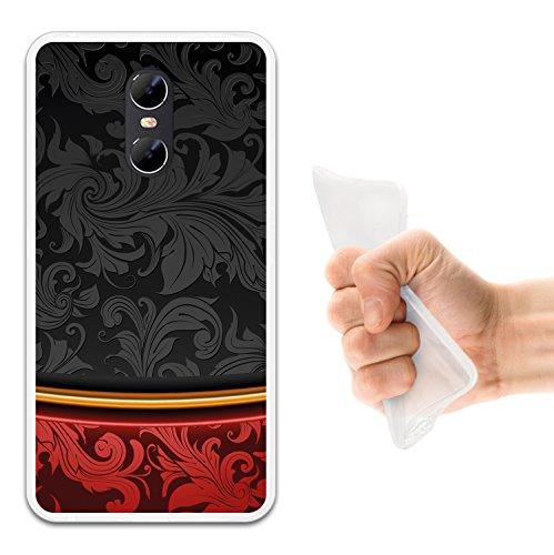 WoowCase Ulefone Gemini Hülle, Handyhülle Silikon für [ Ulefone Gemini ] Schwarz und Rot Luxus Vintage Handytasche Handy Cover Case Schutzhülle Flexible TPU - Transparent