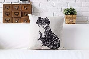 E Dimensions :  55 x 55 cm-Animal Totem Housse de coussin Motif chouette, oiseau Housse de coussin Motif cerf, taie d'oreiller en lin/sofa/coussin/oreiller décorative d'intérieur