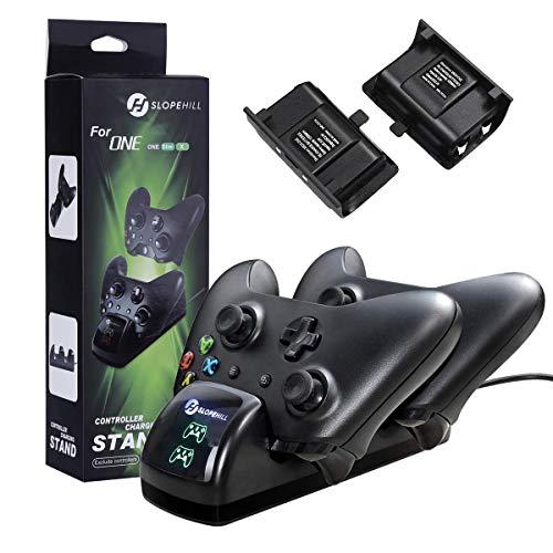Xbox One Chargeur Manette, Slopehill Chargeur Contrôleur Xbox One / One S/ One X Elite Adaptateur de Chargeur Sans Fil Chargeur Station de Charge avec 2 Batteries Manette Rechargeables de 1200mAh,Noir