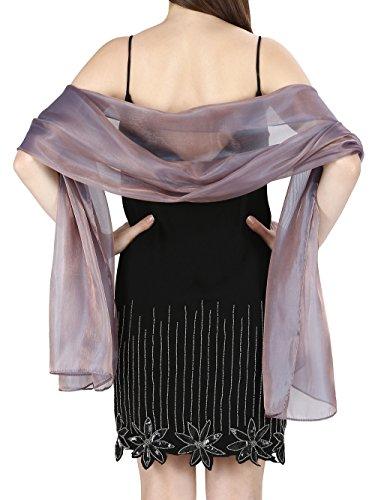 World of Schals Seidig, irisierend Wrap Stole Schal für Hochzeiten Bridal Brautjungfern Abend Ball und Partys - Aus Rotguss, 70 x 180 Cms (Wrap Abend)