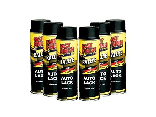 Preisvergleich Produktbild Fast Finish Set: 6x Fast Finish Car Autolack, schwarz, matt - 500ml