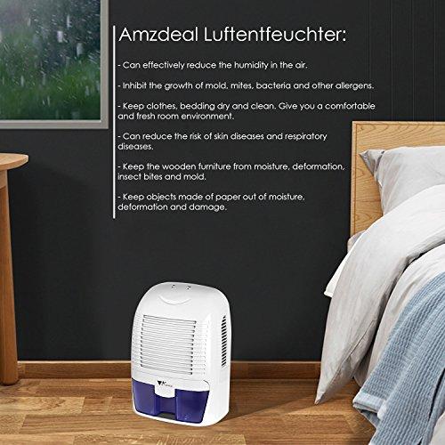 Amzdeal Luftentfeuchter 700ml/24h | Raumentfeuchter gegen Feuchtigkeit - 4