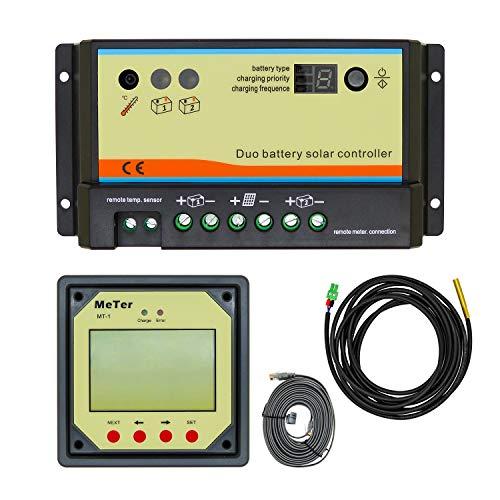 EPEVER PWM Solarladeregler 20A für Doppelbatterie Solarpanel Laderegler + Fernanzeige MT-1 12V/24V Auto Work LCD-Display für Wohnwagen Boote Solaranlage für versiegelte/überflutete/Gel-Batterie
