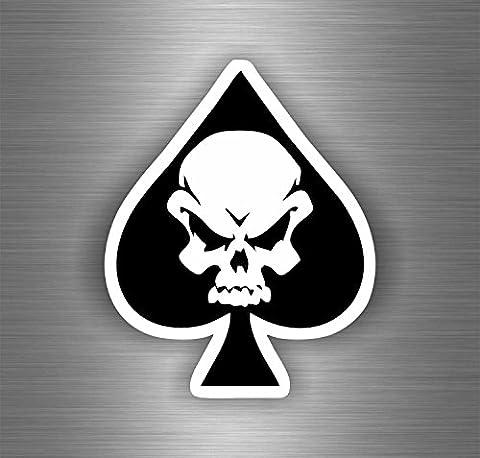 Autocollant sticker biker moto motard tete de mort skull as de pic tuning pirate