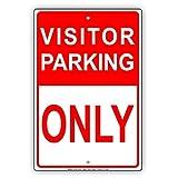 bienternary Visitor Parking Only Rot und Weiß vorbehalten Spot Alert Vorsicht Achtung Hinweis Aluminium Schild Blechschilder Vintage Dose Teller Schilder Dekorativer plaque12X 18