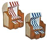 1 Stück _ 3-D Figur Strandkorb blau / rot weiß - z.B. als Tischdeko - Mini Deko Dekofigur Ostsee Meer Nordsee Maritim Klein - Nordsee Strandkörbe Urlaub Meer