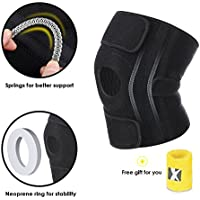 """MARNUR Knee Brace with Kneecap Stabilizer, Open-Patella with Adjustable Strapping for weightlifting, Weight-bearing exercise and Outdoors Activities, Surgery or Injury Pain Recovery (knee circumference: 11-15"""")"""