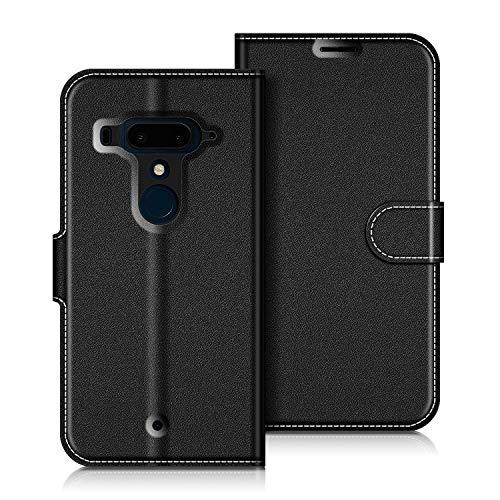 COODIO HTC U12+ Hülle Leder, HTC U12 Plus Lederhülle Ledertasche Wallet Handyhülle Tasche Schutzhülle mit Magnetverschluss/Kartenfächer für HTC U12+ / U12 Plus, Schwarz