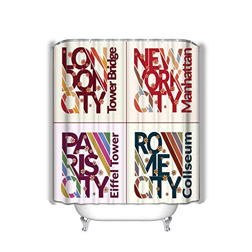 Curtain Design Set NYC London Rome Paris Fashion Capitals Typography stylish Printing Sportswear Apparel Fabric Bathroom Decor 60 X 72 Inch ()