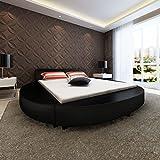 SENLUOWX - Struktur Bett 180x 200cm rund Kunstleder schwarz