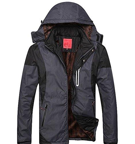 Couple Outdoor sportswear-Giacca con cappuccio, impermeabile, per arrampicata, spesso-Giacca in cotone Grey -Men