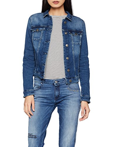 Tommy Jeans Damen Slim Denim Trucker Vivianne Langarm Jeansjacke Denim Jacke Pink (Newport Mid Blue Str 911) Large
