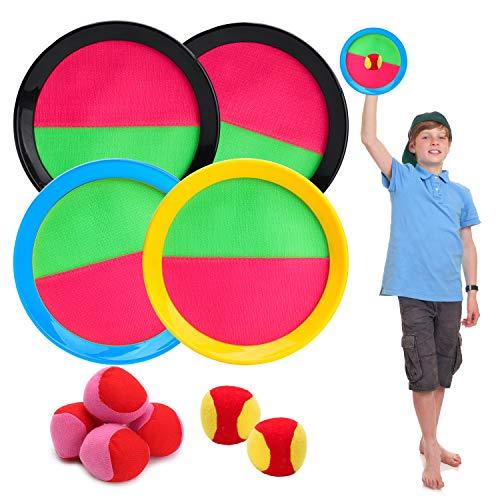 BEYUMI Paddle Catch Ball Set Wurf- und Catch Ball-Spielset 4 Klettverschluss verstellbares Selbstklebepaddel 6 Bälle mit Aufbewahrungstasche für Outdoor-Aktivitäten (11 Packs)