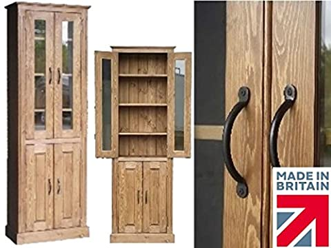 Solid Pine Display Cabinet, 6ft Tall Alcove Glazed Bookcase, Handcrafted & Waxed Display Cupboard. Choice of Colours, No flat packs, No assembly
