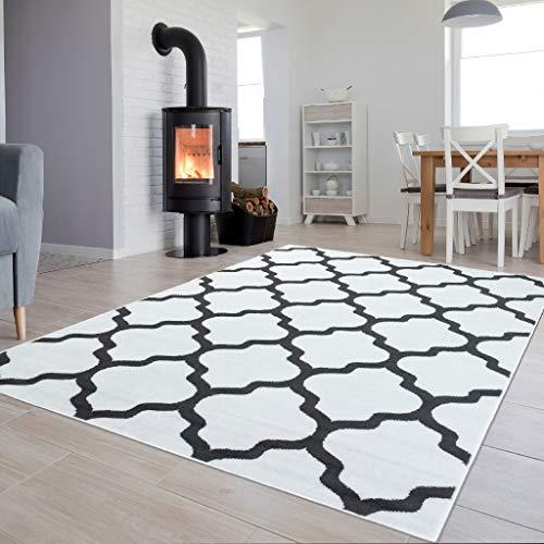 Tapiso Luxury Teppich Kurzflor Modern Marokkanisch Geometrisch Gitter Kleeblatt Muster Weiss Grau Wohnzimmer ÖKOTEX 180 x 250 cm -