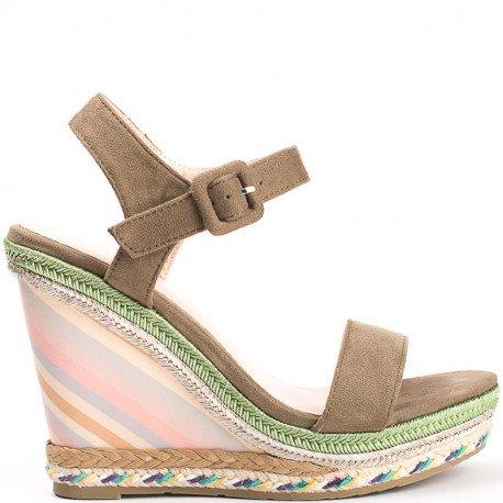 Ideal Shoes - Sandales compensées effet daim Milla Taupe