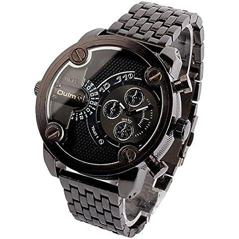GL Uomini Russia militari per il tempo libero al quarzo da polso cinturino in metallo Sub quadrante Dual Time Display orologio resistente all'acqua, Nero