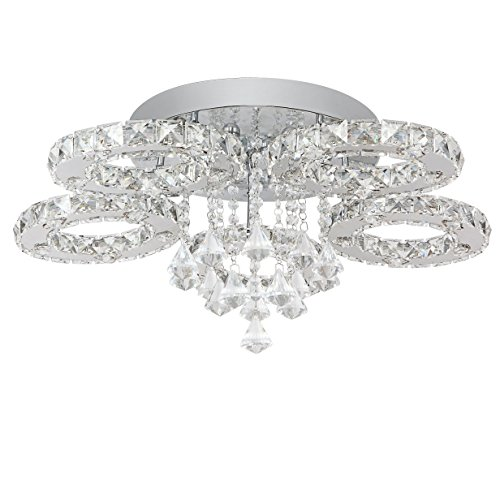 SAILUN® 76W LED Kaltweiß Deckenleuchte 5/6-flammig Kristall Deckenlampe Flur Wohnzimmer Lampe Schlafzimmer Küche Energie Sparen Licht Wandleuchte - 1-licht-kristall-wandleuchte