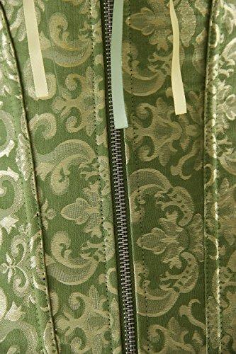 Charmian Women's Burlesque Sweetheart Satin Laces Boned Overbust Corset Bustier Zip verde