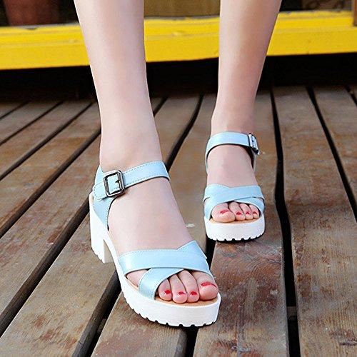 Longra Donne Estate Spesso tacco sandali tacco alto Blu