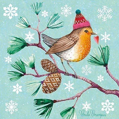 hiver Robin Flocons de neige marron 3-ply 20 Papier Serviettes de table 13 \