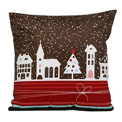 fheaven Happy Christmas Super Weichen Stoff Kissenbezug Cartoon (Schneemann, Santa