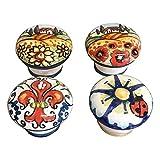 CERAMICHE D'ARTE PARRINI- Ceramica italiana artistica, set di 4 pomelli decorati per cassetti, dipinto a mano, made in ITALY Toscana