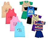 Indistar Boys Pure Cotton Baba Suit (T-Shirt and Bottom) (Pack of 4)- (Assorted Color/Print) And Girls Pure Cotton Cartoon Print Slips/Vests (Pack of