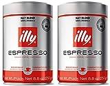 2 x Illy Espresso gemahlen, normale Röstung (medium), Dose mit silber / roter Banderole, 250 g