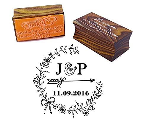 Personalized Wood Mounted Rubber Stamp Custom Monogram Stamp Engagement Gift