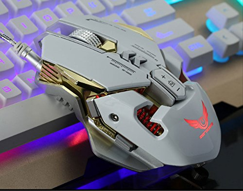 Kabel Sieben Gear DPI Variable Speed Verstellbar Maus Sechs Farbe Hintergrundbeleuchtung Makro Definition Programmierung Spiel Maus (Farbe: Weiß) (International Td-6)