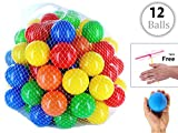 #10: iPearl Plastic Color Balls Genuine Quality Set of 12 - 8 cm Diameter Similar Size of Cricket Ball