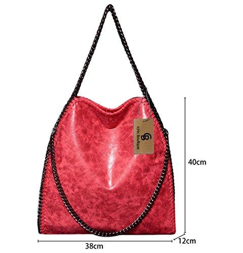 Damen Handtasche Kettenbeutel Schultertasche Umhängetaschen Henkeltasche Mädchen - 38/40/12 cm (B*H*T) Rot