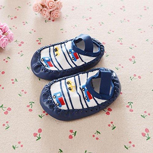 Ouneed® 0 - 24 mois Bebe Chaussettes Chaussures Choussons a domicile Bleu fonce