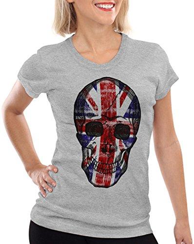 Skull Damen T-Shirt Totenkopf England Flagge Oberteil Union Jack Kostüm, Farbe:Grau meliert, Größe:XL (König Von England Kostüm)