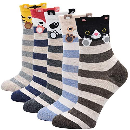 amen Cute Cartoon Tier Socken Baumwolle Katze und Hund Socken, EU 36-41 5/6 Paar ()