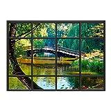 Les Trésors De Lily [Q8015 - Sticker Trompe l'oeil verrière 'Jardin Japonais' Vert Marron - 50x70 cm