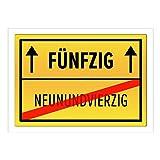 Große XXL Geburtstags-Karte mit Umschlag/DIN A4/50 Fünfzig/Geburtstag/Happy Birthday/Witzig als Orts-Schild