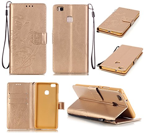 Huawei P9 Lite Case Cover [with Free Screen Protector], Funyye Elegant Premium Folio PU Leather Wallet Magnetic Flip Cover with [Wrist Strap] and [Credit Card Holder Slots] Stand Function Book Type Stylish Butterfly Leaf Vines Designs Full Protection Holster Case Cover Skin Shell for Huawei Ascend P9 Lite - Gold
