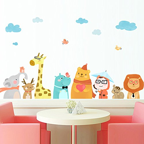che wandsticker,Kindergarten klassenzimmer dekoration Baby schlafzimmer kreative cartoon tier sticker-A 59*25inch (Fallen Klassenzimmer Dekorationen)
