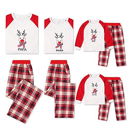 CHIYEEE Familie Passenden Pyjama Set Männer Frauen Jungen Mädchen Weihnachten Tops Lange Ärmel Bluse Gedruckt Hose Weihnachten Erwachsene Kinder und Kleinkind PJs Nachtwäsche Urlaub Homewear
