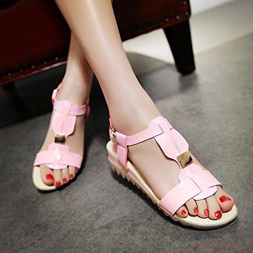 Vent De Bohème Femme Sandales Chaussures De Talon De Pente À Fond Épais Chaussures De Plage Chaussures Cool Étudiant Rose