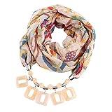 Oliviavan Damen Taschentücher Schals Halskette mit Perlen Kette Anhänger Schals & Tücher Praktischer Schal Farbverlauf Schmuckschal Schalkette Mode und Leinen mit Lätzchen 180x48cm