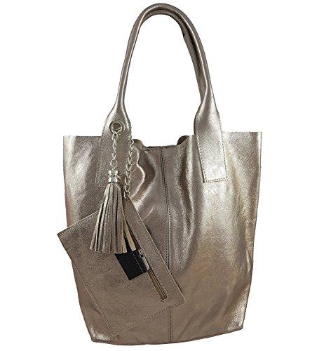 Freyday Damen Echtleder Shopper mit Schmucktasche in vielen Farben Schultertasche Henkeltasche Handtasche Metallic look (Messing Metallic) -