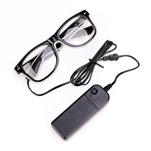 Sbarden Leuchtbrille LED Partybrille, Batteriebetrieben LED-Neon-Brille für Partys, Kostümfeste, Bälle, Diskos, Halloween, Geburtstage, Festivals (Weiß) (Halloween-brillen)